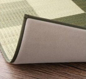 自然素材ラグ 厚みが選べる3タイプ 純国産 日本製 ブロック柄い草 藺草 ラグ( サイズ :191×250cm)( 色 : ブラウン 茶 )( ウレタンなし )