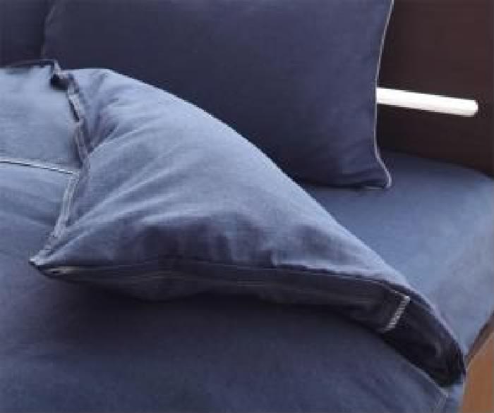 単品 先染めデニム調コットン100%カバーリング 用 掛け布団カバー (寝具幅サイズ シングル)(カラー グレー)