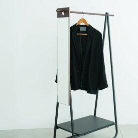 フックミラー(100) (ダークブラウン/茶) 幅20cm×高さ100cm ウォールミラー/壁掛け/鏡/飛散防止加工/日本製/省スペース/スリム/完成品/NK-1000