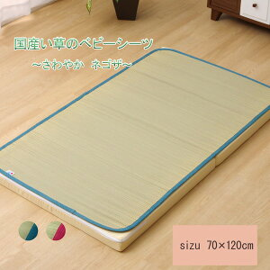 い草 シーツベビー ベビーマット キッズ ジュニア 寝ござ 『さわやか ネゴザ』 ブルー 約70×120cm