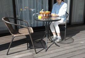 ラタン調ガーデンチェアー・ガラステーブルセット 60cm テーブル1台 + チェア2脚 谷村実業