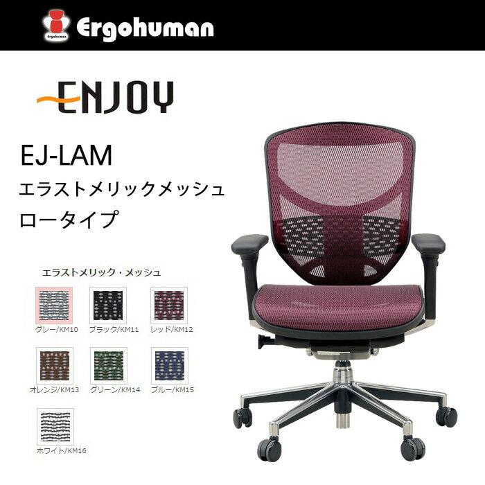 【送料無料】 エルゴヒューマン エンジョイ エラストメリックメッシュ ロータイプ KM-12 RD レッド色