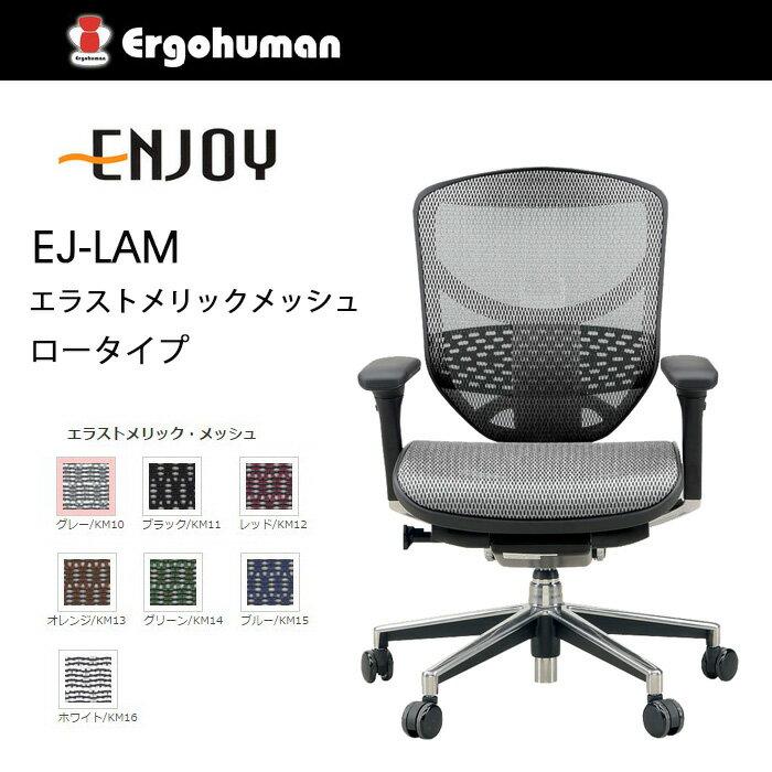 【送料無料】 エルゴヒューマン エンジョイ エラストメリックメッシュ ロータイプ KM-16 WH ホワイト色