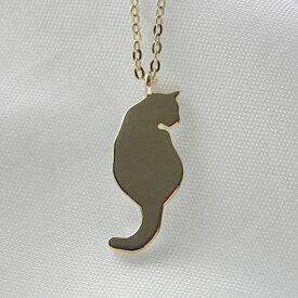 ゴールドコーティング 後ろ姿ネコネックレス ネコペンダント レディースネックレス 猫ネックレス ねこネックレス シルバーペンダント Silver925<Blue-Cat>ブルーキャット【auktn】【売れ筋】【YOUNG zone】
