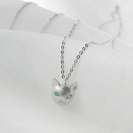 ミントグリーンキュービック ネコネックレス 可愛いネコネックレス キャットネックレス ネコネックレス レディースネックレス 猫ペンダントSilver925 日本製<Blue-Cat>ブルーキャット【auktn】