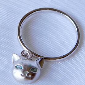 ネコリング ミントグリーンキュービック ネコリング レディースリング 猫リング 女性用リング 指輪 ピンキーリング ハンドメイド 日本製 ブランド<Blue Cat>ブルーキャット【auktn】【送料無料】