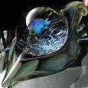 【送料無料!】1点物、世界に1つガラスペンダント スネークヘッド 840/メンズネックレス/ガラスネックレス/ガラスアクセサリー/メンズペンダント/レザーチョー...