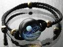 1点物、宇宙ガラスブレスレット レディース 宇宙ブレスレット 宇宙ガラス ブレスレット レザーブレスレット 日本製 ハンドメイド ブランド<Natural Glass>【auktn】売れ筋 送料無料
