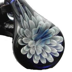 世界に1つ花柄ガラスペンダント レンゲ181 花柄ネックレス ガラスアクセサリー 華柄 ガラスネックレス レディースペンダント レザーチョーカー日本製 ハンドメイド ブランド<Dragon Pipe>【a