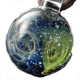 1点物、ガラスネックレス 銀河 メンズネックレス ガラスペンダント 宇宙 宇宙ガラス メンズペンダント レザーチョーカー 日本製 ハンドメイド ブランド<Dragon Pipe>【auktn】【送料無料】