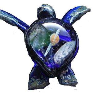 1点物、カメ&土星・宇宙ネックレス ブルー メンズネックレス 亀&宇宙ネックレス ガラスペンダント 宇宙 ガラスアクセサリー メンズペンダント 日本製 ハンドメイド ブランド<DEEP BLUE>