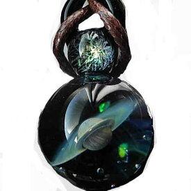 1点物、始まりの惑星 宇宙ガラスネックレス 宇宙ガラス ガラスペンダント ガラスネックレス 宇宙 土星 ネックレス 日本製 ハンドメイド ブランド<glass工房ココロイロ>【auktn】送料無料