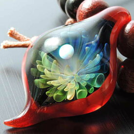 1点物、世界に1つガラスペンダント スネークヘッド メンズネックレス ガラスアクセサリー 宇宙ガラスネックレス メンズペンダント レザーチョーカー 日本製 ハンドメイド ブランド<Dragon Pipe>送料無料