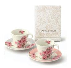 LAURAASHLEY(ローラアシュレイ)タオル付ペアコーヒーセットLA10-1T