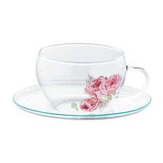 LAURAASHLEY(ローラアシュレイ)ガラスカップ&ソーサーLA10-GCS