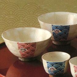 【送料無料】京焼・清水焼(啓司窯)櫛目青海波組飯碗LFK588