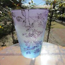 【送料無料】HIROガラス直タンブラー(ブルー金紫)仙台萩