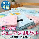 キャラクター 綿100% ジュニア タオルケット 約100×140cm 選べる4種 シャーリング加工