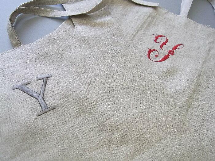 リネンのエコバッグイニシャル ギフト エコバッグ リネン 御礼 母の日 刺繍 ナチュラル 名入れ レディース 記念品 プチギフト