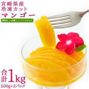 贅沢・国産<宮崎県産冷凍カットマンゴー1kg> 500g×2パック 濃厚 国産 冷凍マンゴー