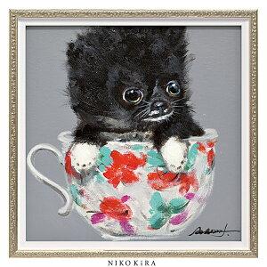 おしゃれ 絵画 かわいい アート 絵 インテリア モダン 壁掛け 犬 猫 いぬ ネコ カラフル 風景画 油絵 おしゃれ オイル ペイント アート 「 ティーカップ ドッグ2 Sサイズ 」 幅33 x 高さ33cm アー