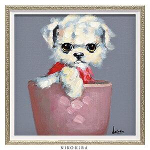 おしゃれ 絵画 かわいい アート 絵 インテリア モダン 壁掛け 犬 猫 いぬ ネコ カラフル 風景画 油絵 おしゃれ オイル ペイント アート 「 ティーカップ ドッグ3 Sサイズ 」 幅33 x 高さ33cm アー