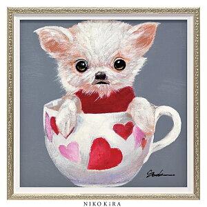 おしゃれ 絵画 かわいい アート 絵 インテリア モダン 壁掛け 犬 猫 いぬ ネコ カラフル 風景画 油絵 おしゃれ オイル ペイント アート 「 ティーカップ ドッグ4 Sサイズ 」 幅33 x 高さ33cm アー