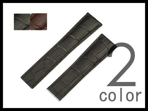 「タグホイヤー(TAGHEUER)向け」 輸入王オリジナル ベルト Dバックル用 型押しクロコ 社外品 カレラ モナコに最適 タグ・ホイヤー