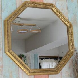 アンティーク調大型八角形ミラー ゴールド【壁掛け/鏡/おしゃれ/8角形/大きい/大型/インテリア/玄関】