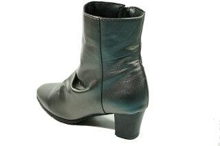 ブーツレディース本革yurikomatsumoto日本製ブーツ低反発本革痛くない靴疲れない靴黒レディースかわいいヒール
