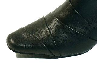 ミュールオールシーズン秋冬yuriko痛くない靴疲れない靴ミュール黒革ヒール