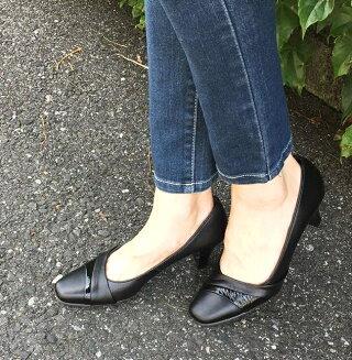 パンプスターバンリボン本革日本製ヒール痛くない靴高級感革ヒール冠婚葬祭痛くない靴疲れない靴仕事履き送料無料代引き手数料無料