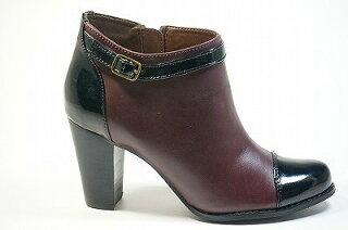 ヒールショートブーツ革エナメルコンビ;痛くない靴疲れない靴【送料無料】【革/皮】【革ブーツ】【ブーツ革】革ショートブーツ