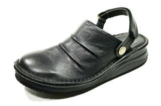 サンダルバックバンドサボ本革痛くない靴疲れない靴黒本革レディース靴ぺたんこyurikomatsumoto送料無料