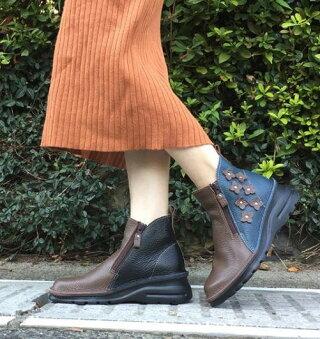 ショートブーツ痛くない疲れない靴外反母趾高級感厚底歩きやすい日本製コサージュ花高級感本革両ファスナー痛くない靴疲れない靴本革レディースショートぺたんこyurikomatsumoto