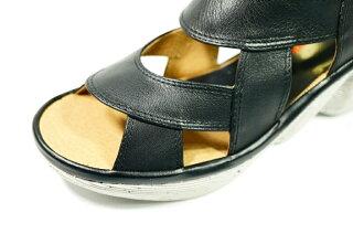 サマーブーツパンチングyurikomatsumotoベルトサンダル本革日本製痛くない靴疲れない靴黒本革レディース靴yurikomatsumoto送料無料