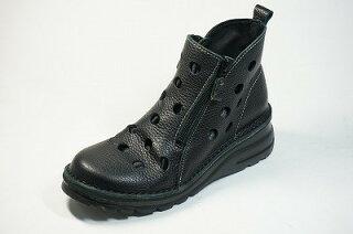 ショートブーツ痛くない疲れない靴外反母趾高級感高級感両ファスナーパンチングブーツ本革痛くない靴/疲れない靴/黒/本革/レディース/靴/パンチング/ショート/ぺたんこ