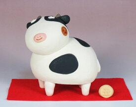干支人形:ぷっくりの丑と赤紙 /干支置物 /十二支 牛