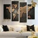 モダン アートパネル 『絵画』手書きの油彩画『高級感』【おしゃれな壁掛けアート】4パネルSET『世界地図 ブラック』絵画 インテリ…