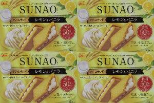 糖質 50%OFF 豆乳 小麦胚芽使用 SUNAO クリームサンド レモン&バニラ 6枚入り×4箱
