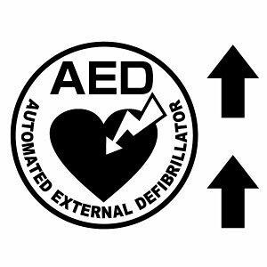 【AED設置案内カッティングステッカー ver.09 大判Lサイズ 2枚組 幅約27cm×高約27cm】※矢印付。ハンドメイド AED搭載車や、AED設置場所に。