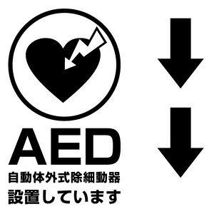 【AED設置案内表示用カッティングステッカー(縦型)2枚組 幅約12cm×高約21cm】ハンドメイド AED搭載車や、AED設置場所に。※矢印2枚付属します。