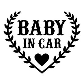 【BABY IN CAR Ver.77(赤ちゃんが乗ってます) カッティングステッカー 2枚組 幅約16cm×高約13cm】ハンドメイド Baby in car ウインドウステッカー ハート heart。