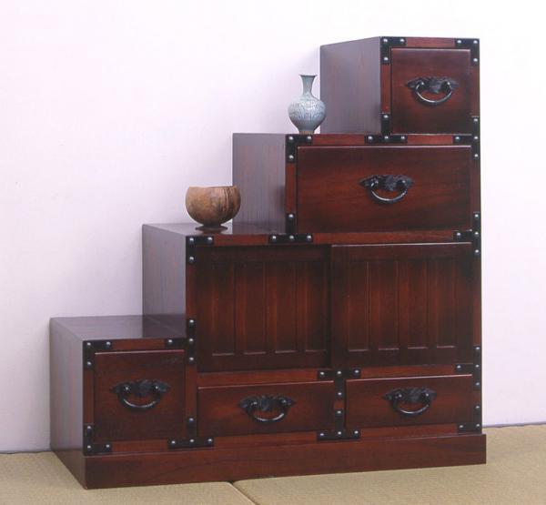 民芸調 階段箪笥 左下がりカタログ通販で実績多数!民芸調の伝統美 64733 和家具