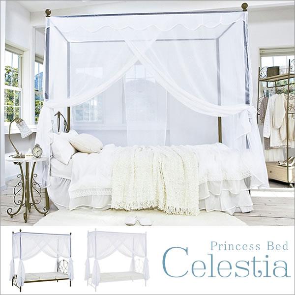 天蓋付ベッド Celestia(セレスティア) シングルふんわりレースの天蓋付きのベッド。 TG-906S+BSK-906S 天蓋付ベッド Celestia(セレスティア) シングル 天蓋付ベッド Celestia セレスティア シ
