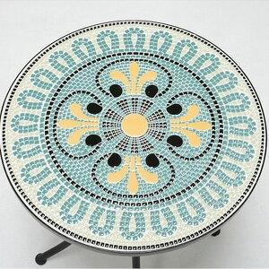 モザイクガーデンテーブル LT-4185 エクステリア ガーデンファニチャー テーブル天青を基調とした複雑な模様が美しいガーデンテーブル LT-4185 ガーデンテーブル 机 つくえ 作業台 テーブル ナ