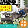 ユニットウッドデッキharmonie(アルモニー)90×90ステップ付SDKIT9090STP-DBR