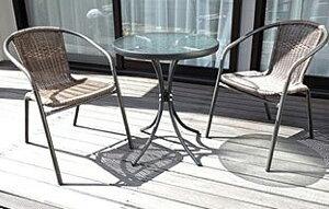 ラタン調ガーデンテーブルセット エクステリア ガーデンファニチャー テーブルラタン ガーデンテーブル バルコニー ガーデン 庭 アウトドア BBQ 3722 ガーデニング ガーデンファニチャー テ