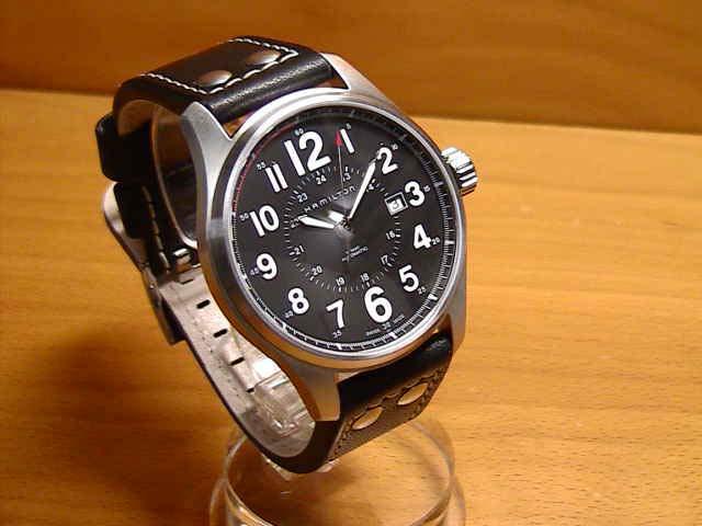 ハミルトン 腕時計 HAMILTON カーキ オフィサー オート ブラックカーフストラップ H70615733