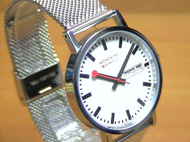 MONDAINE New Classic モンディーン 腕時計 ニュークラシック デイデイト メンズ ホワイトダイアル e優美堂オリジナルメタルバンド仕様 A667.30314.11SBM